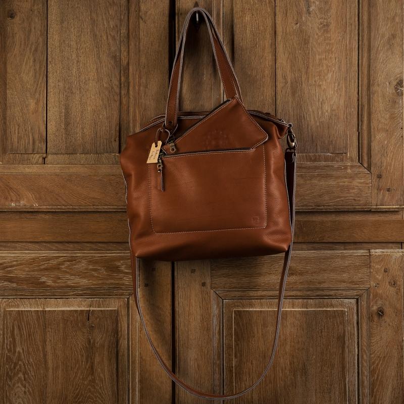 Bags by-J - Leren tas bruin